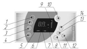 Рисунок 2. Электронная панель управления котла WARMOS-RX 3,75