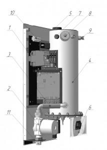 Рисунок 1. Устройство электрического котла Эван WARMOS-RX 7,5 (380)
